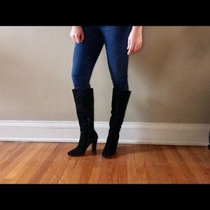 Betsy Johnson black knee high boots. Size 10.